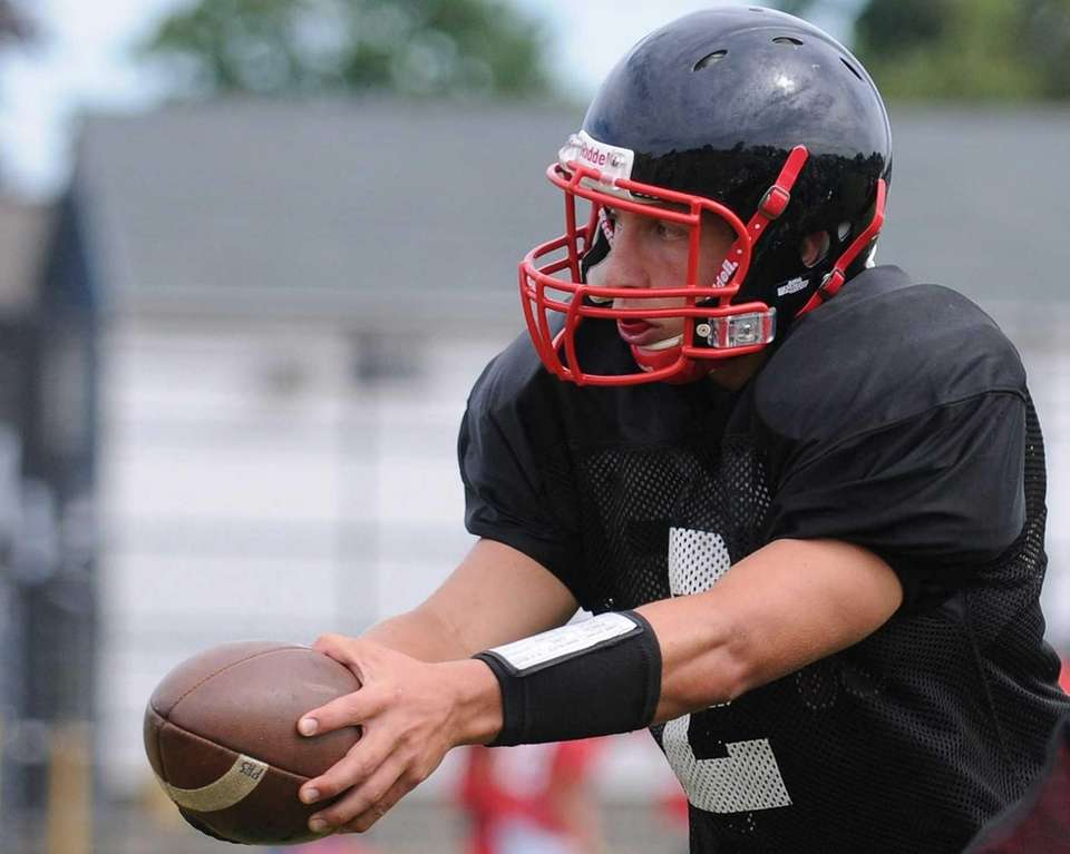 Plainedge High School quarterback Nick Frenger gets ready