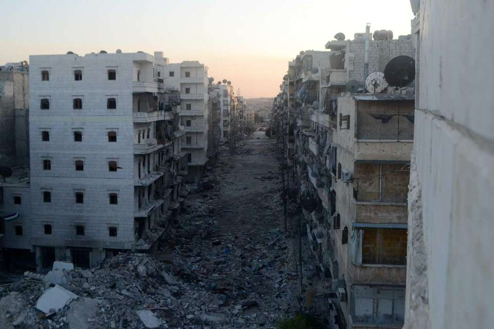 A devastated street in the Salaheddine district of