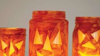 The Jar-o'-lantern Candle Holder can be found on