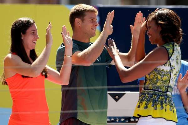 Christina McHale and Ryan Harrison give Michelle Obama