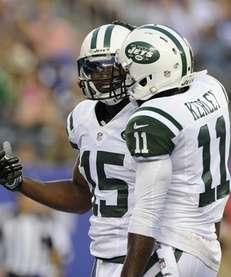 Jets wide receiver Jeremy Kerley #11 congratulates wide