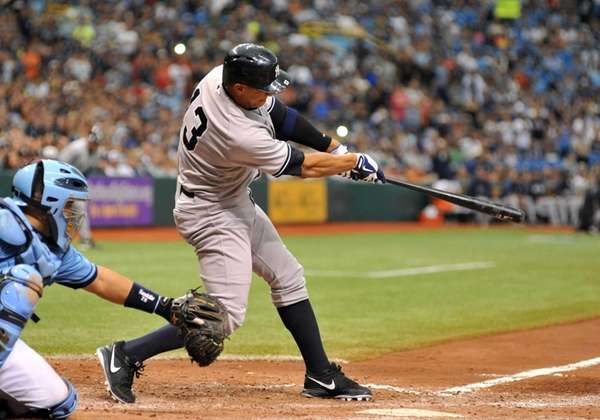 Infielder Alex Rodriguez of the Yankees pitch hits