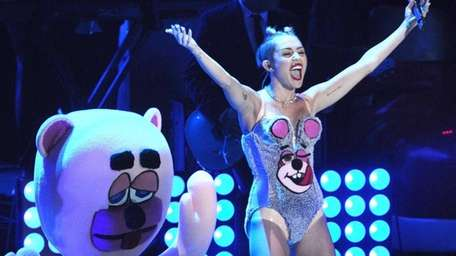Miley Cyrus performs during the MTV Video Music
