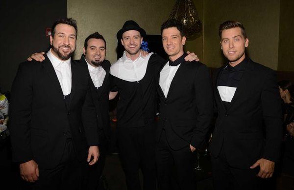 Joey Fatone, left, Chris Kirkpatrick, Justin Timberlake, JC
