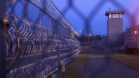 The sun sets at the Nassau County Jail.