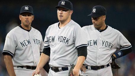 Alex Rodriguez, left, and shortstop Derek Jeter, right,