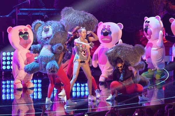 Miley Cyrus performs onstage during the 2013 MTV