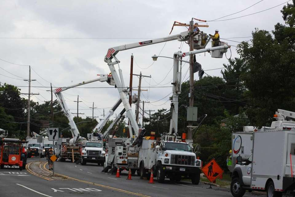 LIPA crews work to repair damage after police