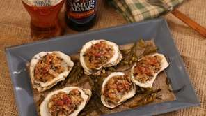 Oysters Rockefeller with Samuel Adams Boston Lager Beer-braised