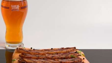 Maple pepper bacon strips with Boston Lager glaze.