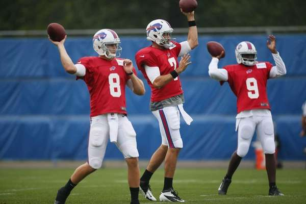Buffalo Bills quarterbacks, from left, Jeff Tuel, Matt