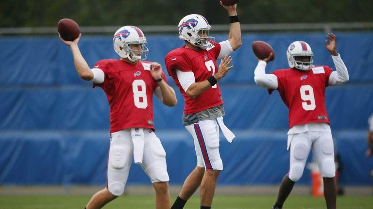 Buffalo Bills quarterbacks, from left, Jeff Tuel, Matt