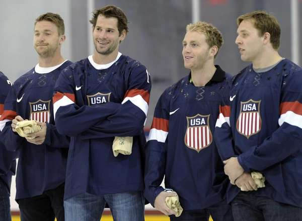 Members of the 2013 USA hockey men's national