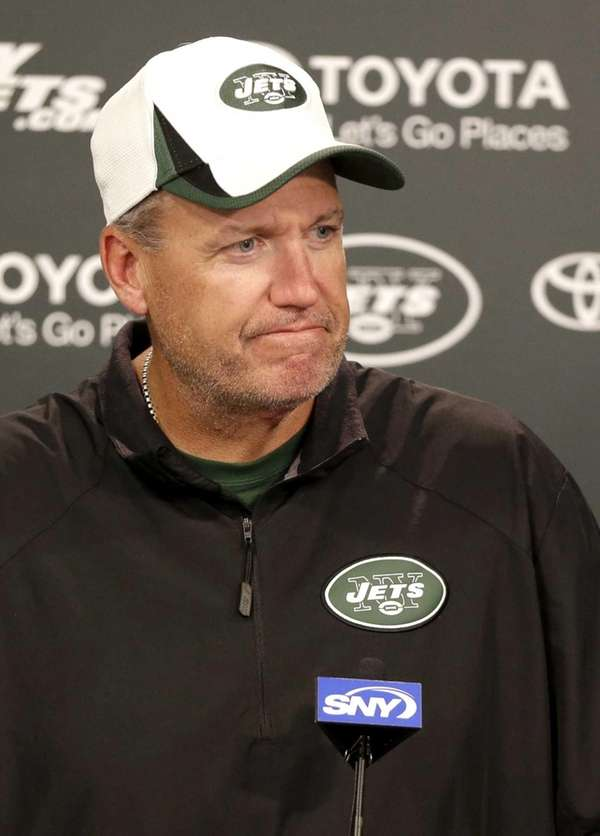 Rex Ryan talks during a news conference at