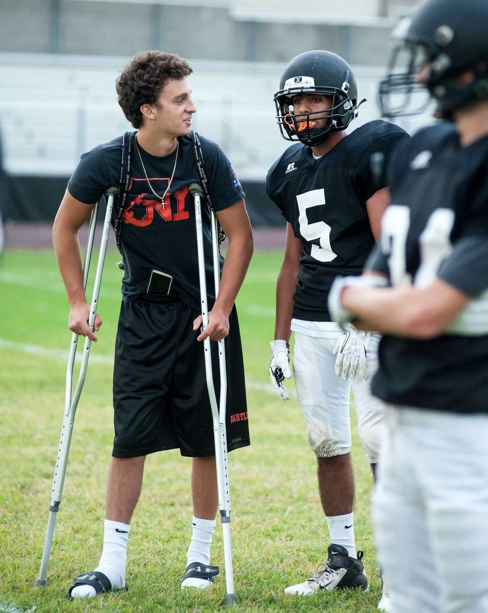 Injured Babylon football player Stephen Cavalieri during training