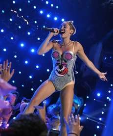 Miley Cyrus performing at the MTV Video Music