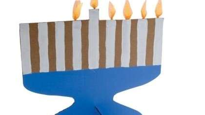 The flame-free menorah craft for kids can be