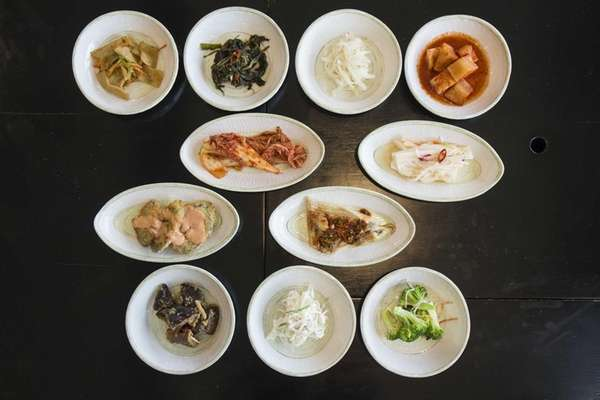 At Ara in New Hyde Park, banchan, the