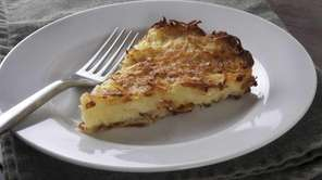Potato kugel made with rendered chicken fat. Cookbook