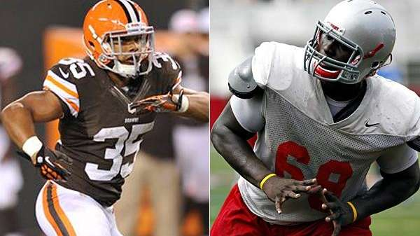 This Associated Press composite shows Cleveland Browns running