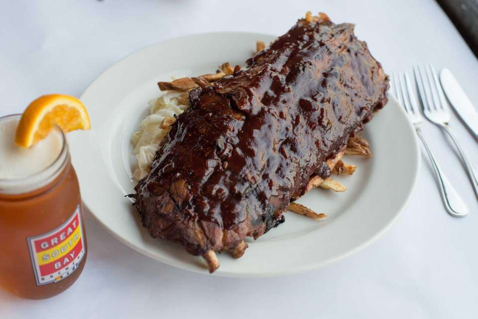 Pineapple BBQ Baby Back Ribs, with hand cut