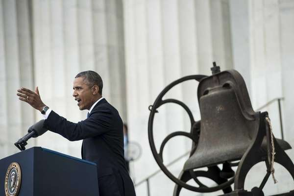 President Barack Obama speaks at the Lincoln Memorial