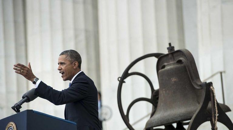 President Barack Obama speaks at the Lincoln Memorial