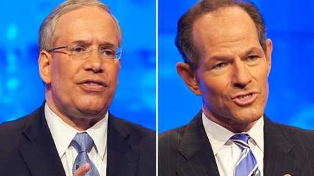 Scott Stringer, left, and Eliot Spitzer.