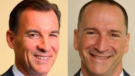Left, Democratic candidate for Nassau County Executive Thomas