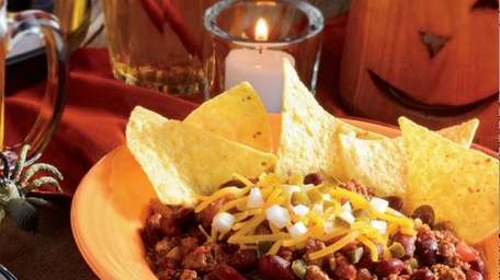 The slow cooker chili recipe can be found