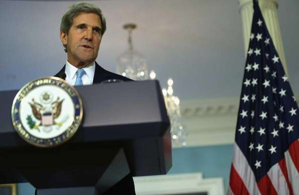 Secretary of State John Kerry makes a statement