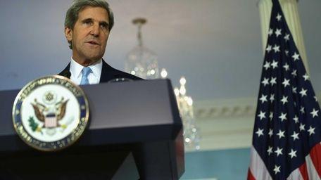 Secretary of State John Kerry makes a statement