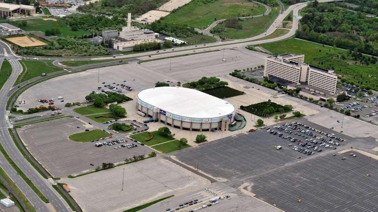 An aerial view of the Nassau Coliseum. (May