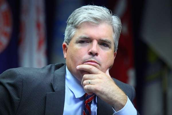 Suffolk County Executive Steve Bellone announces a tentative