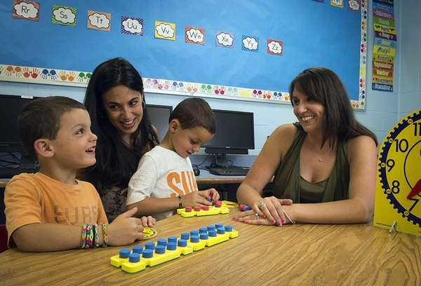 Wantagh Elementary Schools kindergarten teacher Jenny Jencius, right,