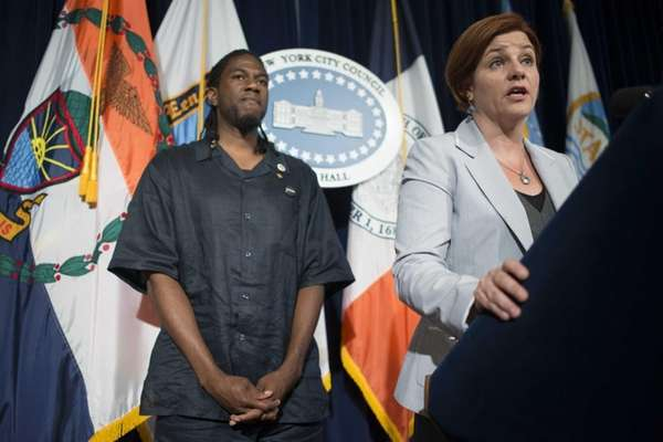 New York Council Speaker Christine Quinn, right, and