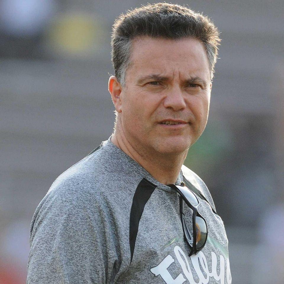 Floyd varsity football head coach Paul Longo watches