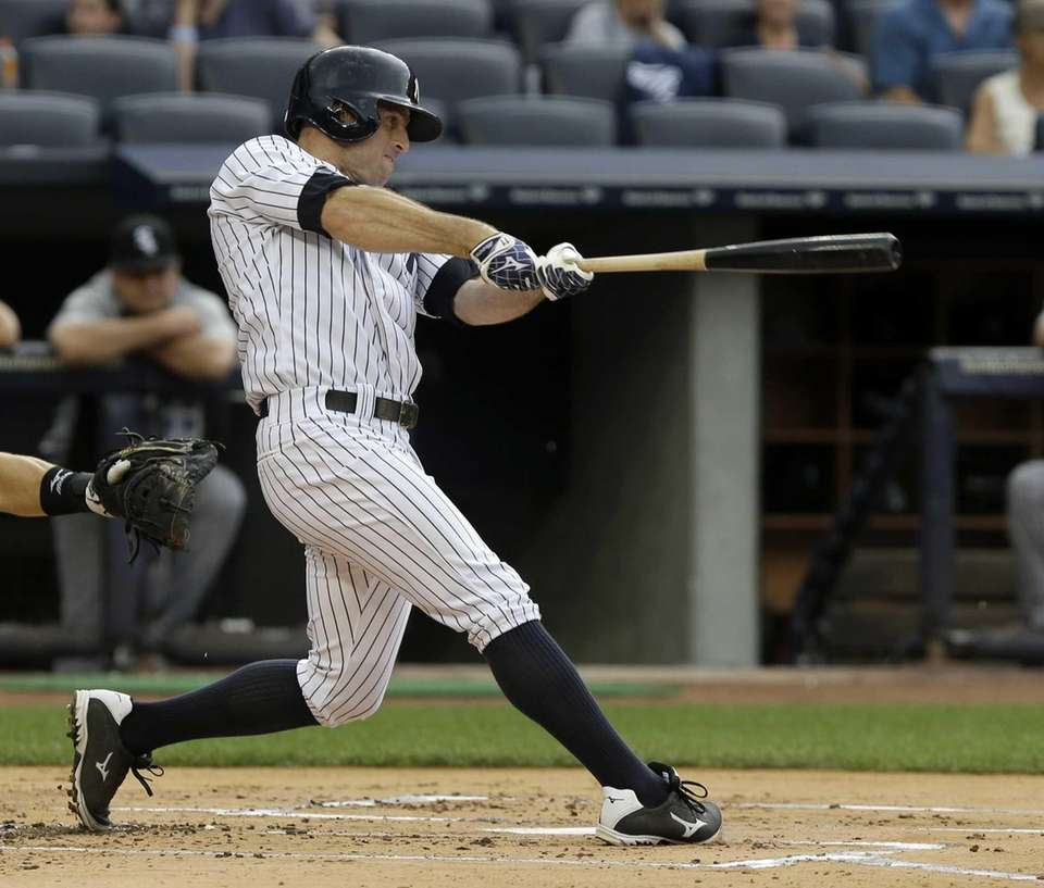 New York Yankees' Brett Gardner hits a ground
