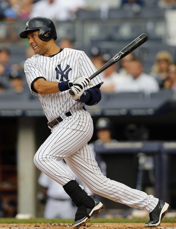 Derek Jeter of the New York Yankees hits
