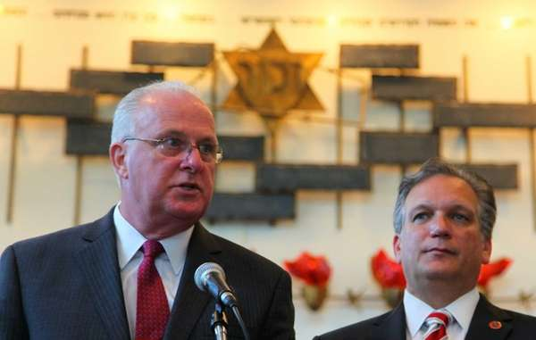 Nassau County Police Commissioner Thomas Dale, left, and