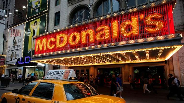 A McDonald's marquee is illuminated in Times Square.