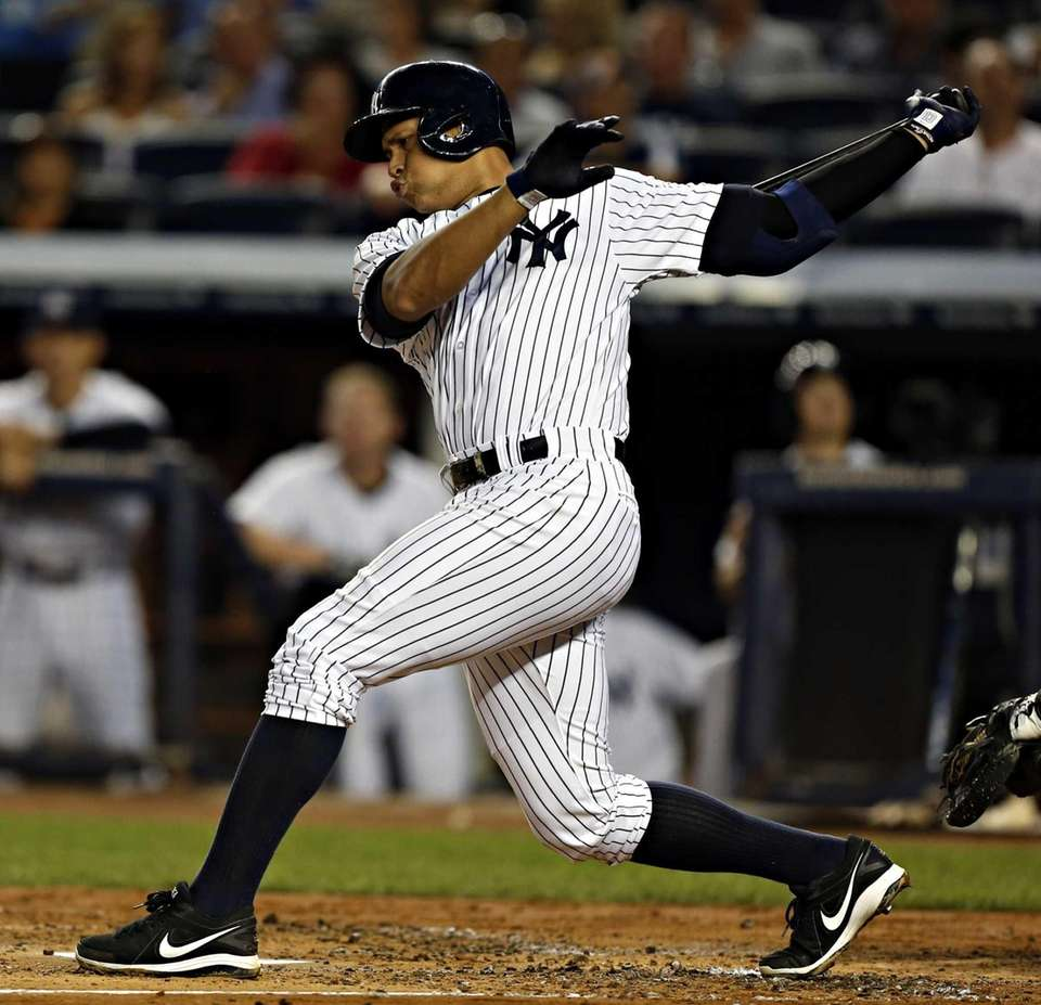 Alex Rodriguez swings and misses but later walked