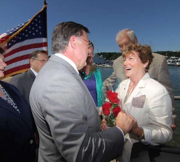 Former Port Jefferson Mayor Jeanne Garant, right, is