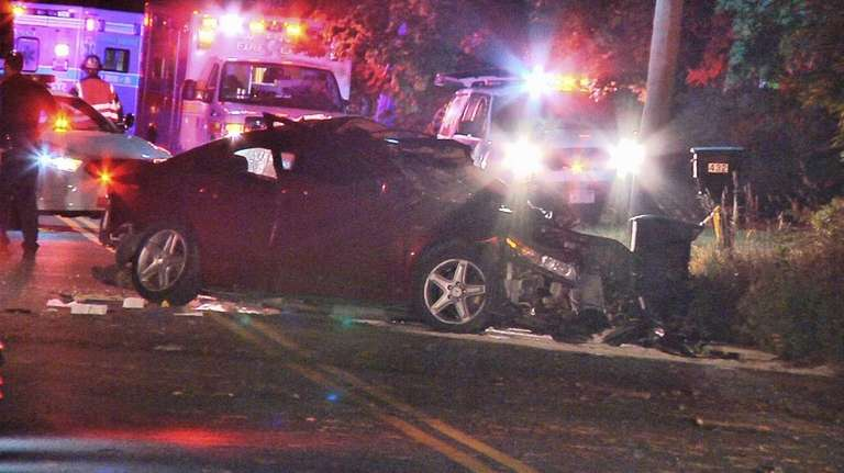 Suffolk County police are investigating a single-car accident