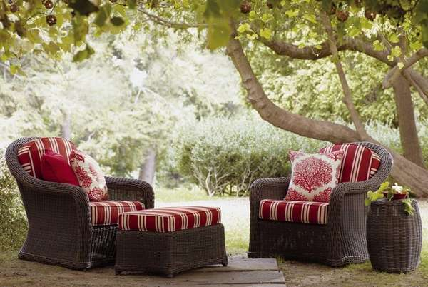 Nautical striped outdoor lounge chairs from the Portico