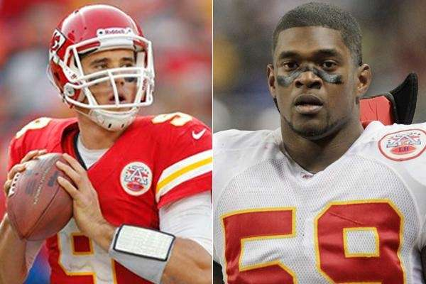 This composite image shows Kansas City Chiefs quarterback