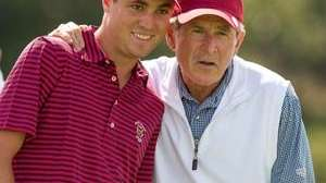 Former President George W. Bush lines up a
