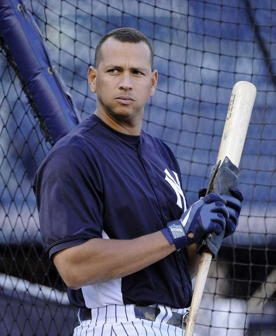 Yankees third baseman Alex Rodriguez prepares his bat