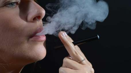 Blu Electronic cigarettes are demonstrated during a studio