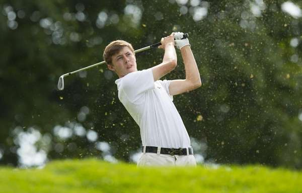 Matt Fitzpatrick watches his tee shot on the